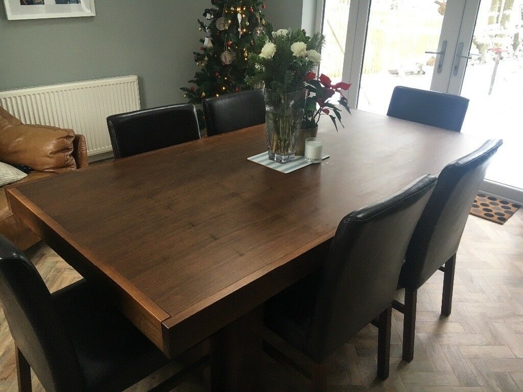 Stupendous Modern Solid Walnut Dining Set Large Table 6 Chairs Matching Sideboard Mirror In Motherwell North Lanarkshire Gumtree Caraccident5 Cool Chair Designs And Ideas Caraccident5Info