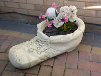 Large Patterned Stone Boot Planter Garden Lawn Ornament - Great Detail