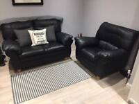 Black Leather 2 Seater Sofa and 1 Chair