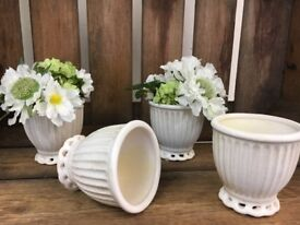 12 x Ivory pottery egg cups - Great for weddings