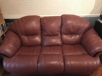 3 seater burgundy leather sofa + 2 recliner chairs