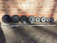 CAST IRON WEIGHTS SET WITH SOLID CAST IRON BAR