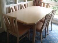 G Plan Limed Oak finish Dining Table and 6 chairs