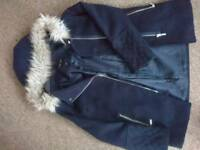 New Look navy blue parker style coat, size 12