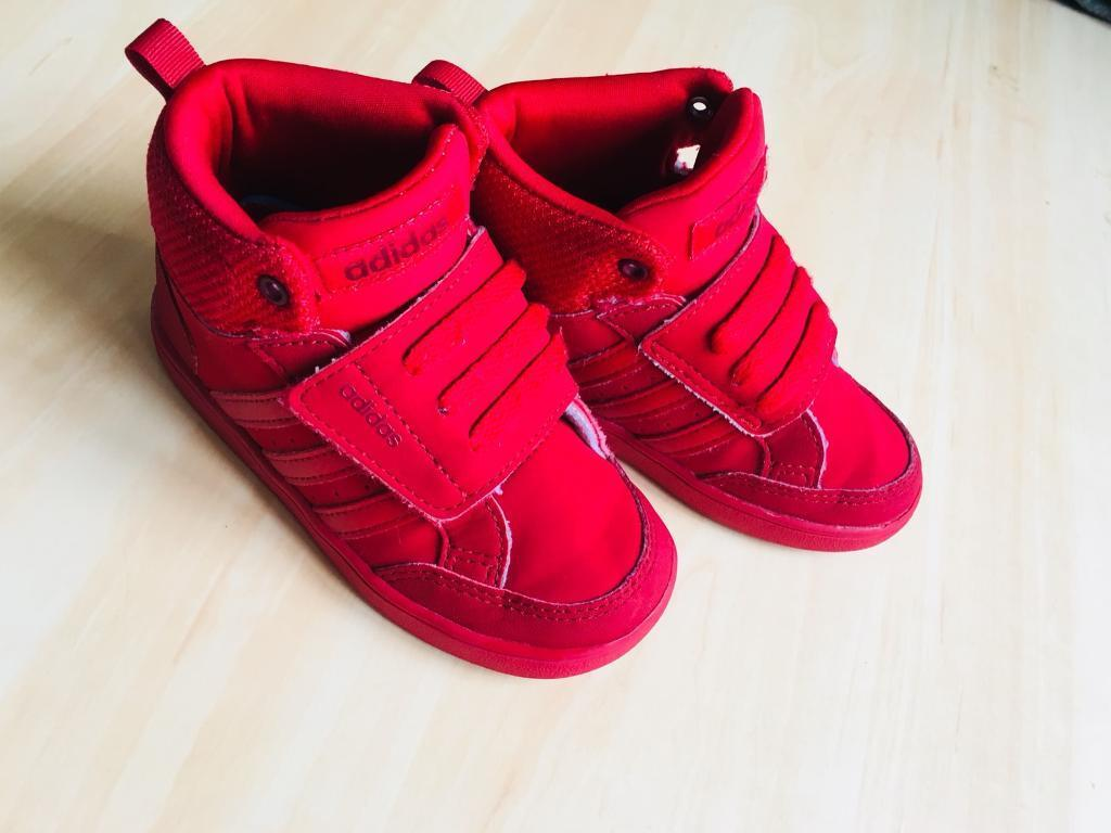 Red Adidas Hoops Trainers Size 7 Infants