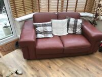 3 & 2 seater Brown leather sofa, in used condition. Few scuffs and marks.