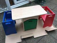 Children's activity table with benches and storage