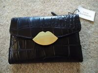 LULU GUINNESS Ladies Leather Wallet - Black - Brand New in Box with Tags