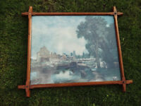 Vintage 1940's Oak Picture Frame With Scenery Image