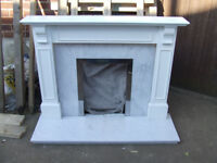 Fireplace, marble and wood