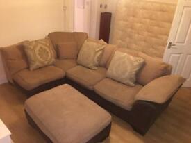 DFS Corner Sofa, Armchair and Pouffe