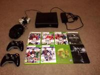 Black Xbox 360 + 8 games + headset & cables