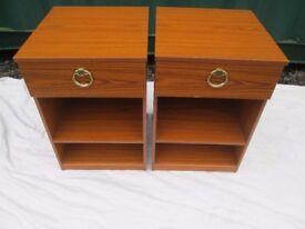 Pair Schreiber Teak Effect Bedside Cabinets With Drawer Shelf Good Condition