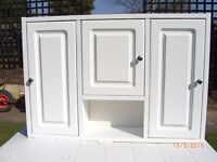 BATHROOM CABINETS (TWO) IN WHITE MELAMINE