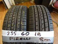 matching pair of 235 60 18 pirellis 7mm tread £80 pair sup & fittd(LOADS MORE AV 7-DAYS)