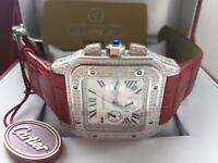 Men's red strap diamond cartier santos £280