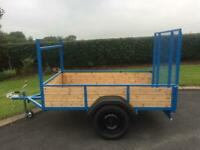 """NEW 7FT X 4FT 4"""" CAR TRAILER WITH LONG TAIL DOOR"""