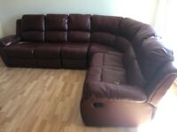 Red Leather 7 Seater Reclining Corner Sofa