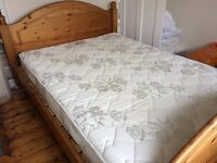 Solid pine double bed inc. mattress
