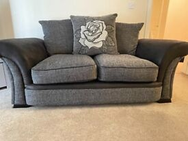3+2 seater sofa, black and grey fabric