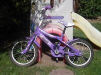 "Excellent Condition Girls 16"" Purple Sweet Bike"