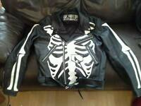 Leather biker motorcycle jacket XL