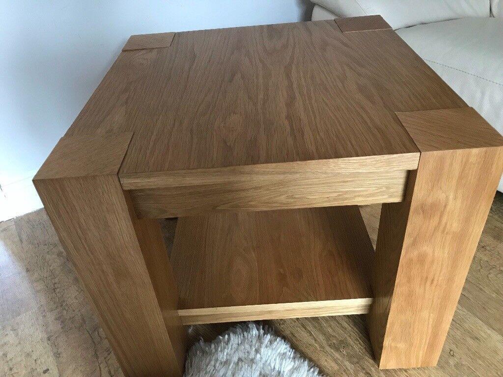 Solid Oak & Oak veneer Lamp/Occasional Table.