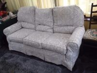 Multiyork 3-piece suite Three Seater Sofa and 2 Armchairs Plumbs Silver/Grey Floral Pattern covering