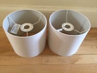 Two matching cream lampshades