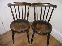 Pair Antique Hardwood Penny Winsor Spindle Back Chairs