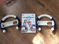 Mario kart Nintendo Wii game with 2 racing wheels