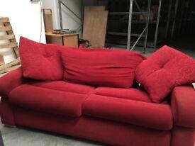 Red velvet sofa, grey sofa bed mattress, shelf unit, removable unit. Pick-up only