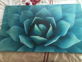 Large Blue Flower wall Canvas
