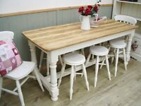 Stunning Pine Scrub Top 6ft Table and 2 Chairs and 6 Stools Set.