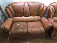 Used leather sofa set (3 seater, 2 seater and armchair)