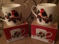Christmas robin mugs X2