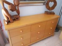 9 Draw Beech Sideboard Excellent Condition