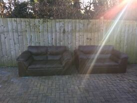 Brown leather matching 2 seater sofas