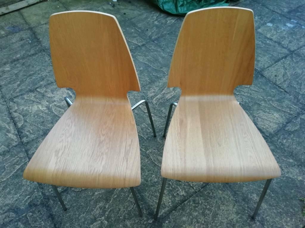 2 Ikea Vilmar Stacking Dining Room Chairs Beech Wood Metal Legs 2 Each In Southampton Hampshire Gumtree