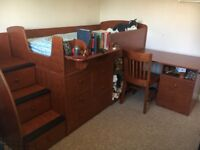All-in-one Berg Furniture captain's bed with underbed storage, stair storage, pull-out desk & chair