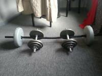 full length bar with 10kg plastic weights and a pair of cast iron dumbells 25kg