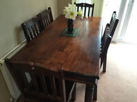 Solid Dark wood Dining Table and Chairs
