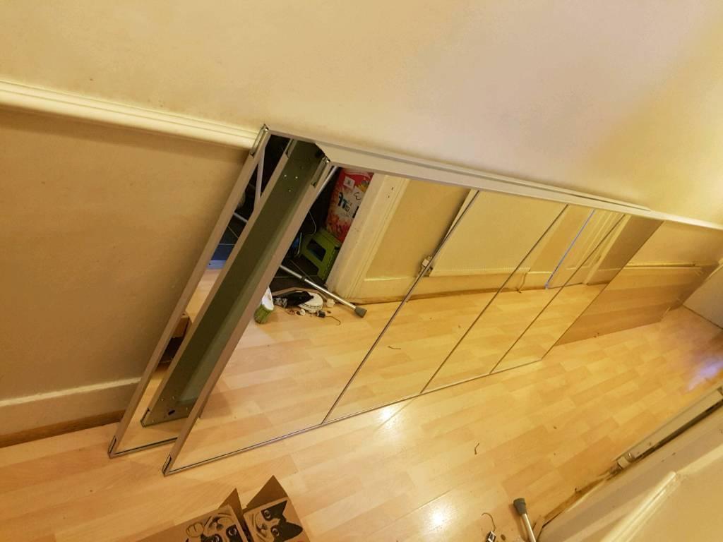 WHITE STAINED OAK IKEA PAX DOUBLE FRAME WARDROBE WITH MIRROR SLIDING DOORS  | in East London, London | Gumtree
