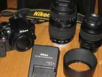 Nikon D3300 DSLR camera with 18mm-55mm VR, and Tamron 70mm-300mm lens
