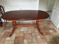 Cherry mahogany dining table with 6 chairs and sideboard