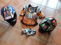 MOTORCROSS OR QUAD HELMETS/BODY ARMOUR/GLOVES