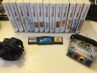 15 Nintendo DS games and one GameBoy game, Guitar Hero attachment and one Nintendo power cable