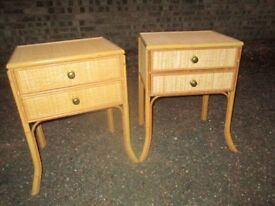 CANE & WICKER BEDSIDE TABLES