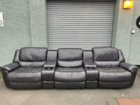 Black leather cinema reclining sofa delivery 🚚 sofa suites couch furniture