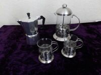 Complete Coffee Set / Coffee Maker / Coffee Plunger 2 Cups & Stove Coffee Maker.